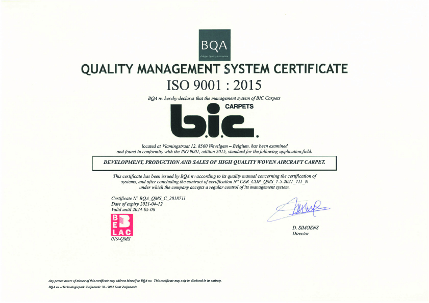 ISO Certificate BIC Carpets